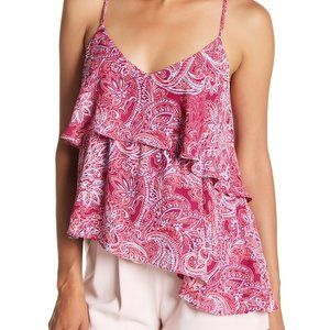 PARKER Pink Paisley Ruffle Layers Strappy Tank Top